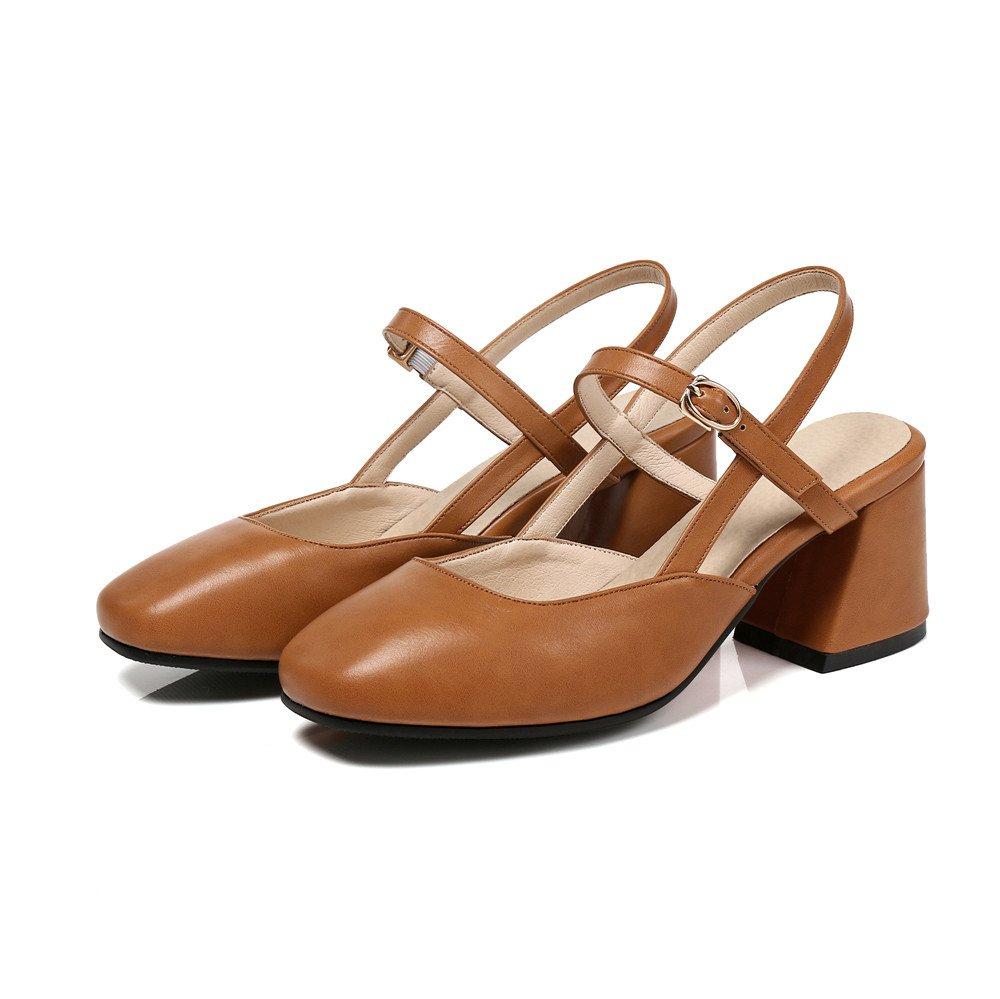 VIVIOO Pumps,Damen Pumps Frauen Pumpt Einfache Wölbungs-Pu-Sommerschuhe Große Art und Weise Beiläufige Schuhe Bequeme Absatzschuhe Caramel color