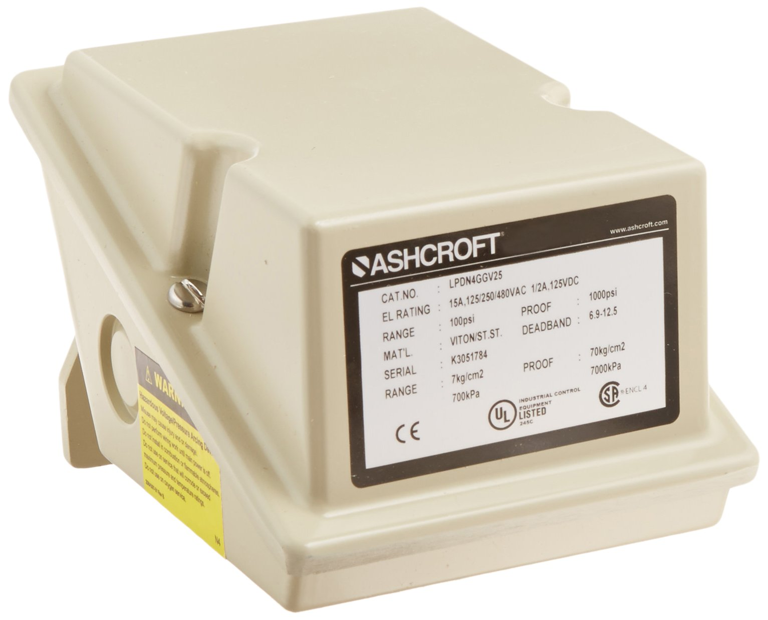 Ashcroft Series L Epoxy Coated Die Cast Aluminum Industrial Pressure Control Switch with SPDT Contact Form, Adjustable Deadband, 1/4'' NPT Female Connection, Viton Actuator Seal, 10/100 psi Range