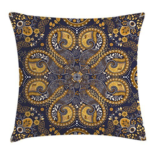 Indian Throw Pillow Cushion Cover, Ethnic Pattern Indian Style of Flower Ornaments Decorative Design Print, Decorative Square Accent Pillow Case, 18 X 18 inches, Mustard Amber Navy Blue Louis45Fowler