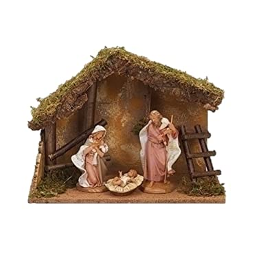 Fontanini 54869 7.5  Scale 3Pc Figure Nativity Set with Italian Stable