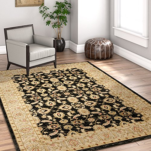 Well Woven Bryce Ziegler Black Isfahan Floral Persian Area Rug 8 x 10 (7'10