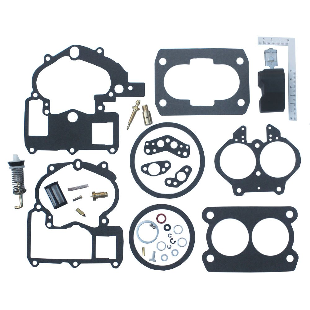 KIPA Carburetor Repair Rebuild Kit For Mercruiser Marine 2 Barrel Rochester Carburetor with FLOAT 3302-804844002# 1389-9562A1 1389-9563A1 1389-9564A1 1389-9670A2 1389-806077A2 1389-806078A2