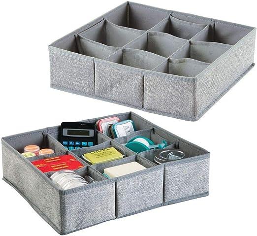 mDesign Juego de 2 separadores de cajones ? 9 compartimentos cada uno - Cajas organizadoras de tela para material de oficina, agendas, lápices, etc. ? Organizador de escritorio - Color: gris: Amazon.es: Hogar