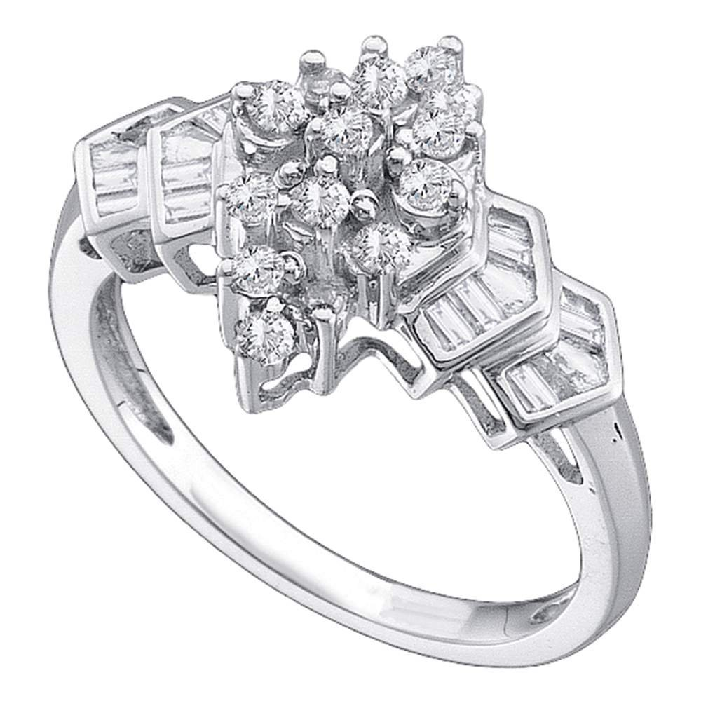 Diamond Cocktail Ring Solid 14k White Gold Band Fashion Round & Baguette Cluster Style Polished 1/4 ctw by GemApex