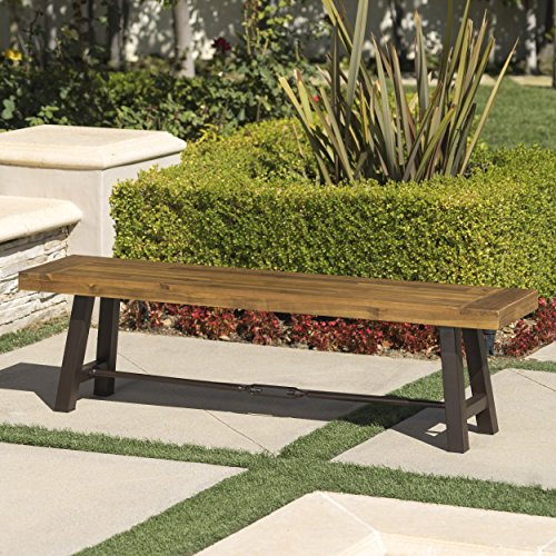 Cana Outdoor Teak Finished Acacia Wood Bench with Rustic Metal Accents (Acacia Bench Wood)