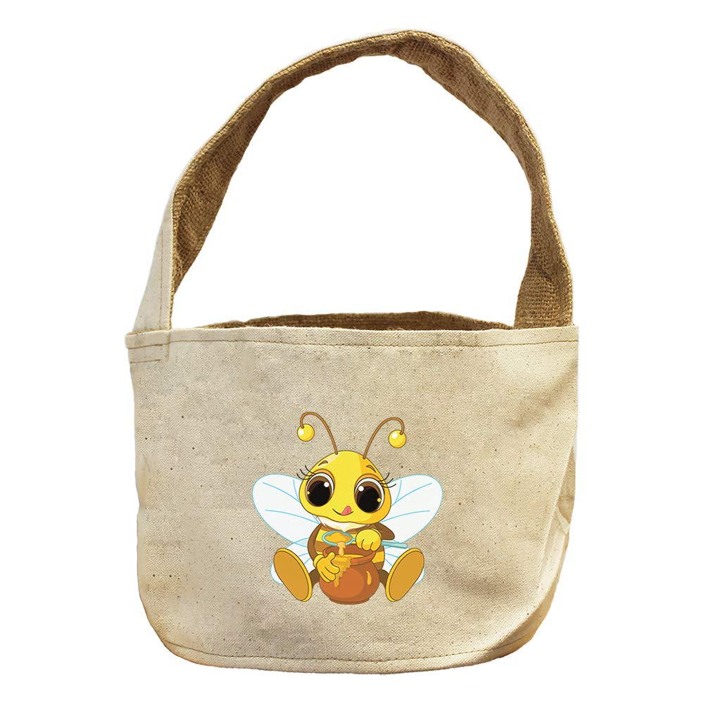 Style in Print Bee with Honey Pot Animals Canvas and Burlap Storage Basket