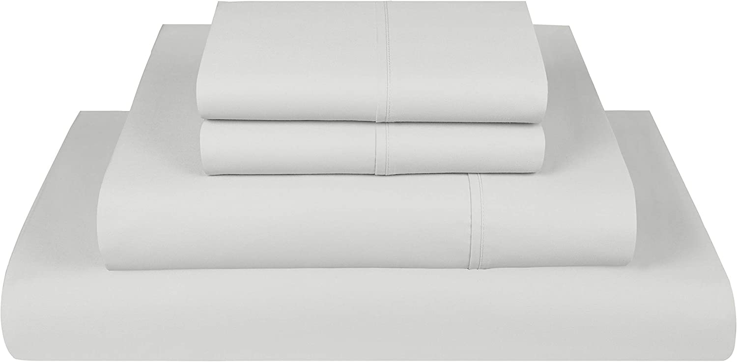Threadmill Home Linen 300 Thread Count Twin XL Sheets Sets - 100% Long Staple Cotton Sheets for Twin XL Size Bed, Luxury 3 Piece Bedding Set with Deep Pocket Fitted Sheet, Smooth Solid Sateen, Silver