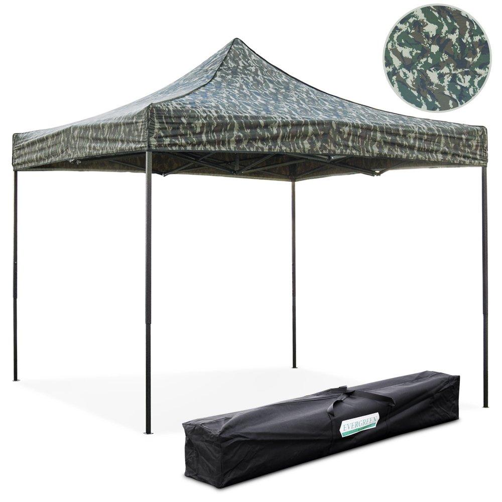 EverGreen Gazebo richiudibile 3x3 m pieghevole telo verde mimetico 100% impermeabile 9008