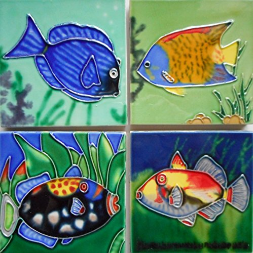 TROPICAL FISH SET OF FOUR CERAMIC ART COASTERS WITH EASEL BACK 4X4 INCHES