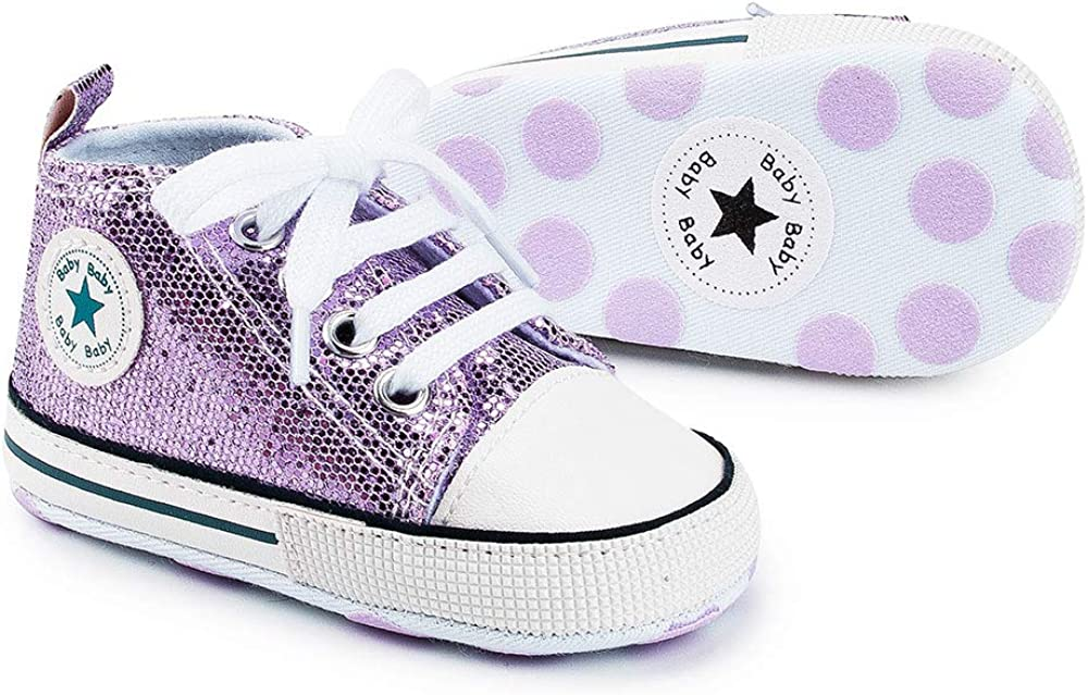 Zoolar Baby Glitter Canvas Sneaker for Boys Girls Lace-up Infant Toddler First Walker Crib Shoes