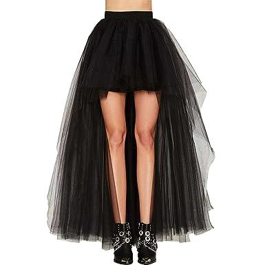589b4a3a5198ee Lvguang Femmes Vintage Jupe Asymétrique Taille Haute Tutu Tulle Jupon Fête  Danse Longue Jupe
