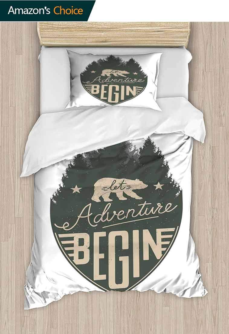 Cabin Decor Custom Made Quilt Cover and Pillowcase Set, Let Adventure Begin Vintage Letters on Forest Badge Hipster Calligraphy, Decorative 2 Piece Bedding Set with 1 Pillow Sham, 79 W x 90 L Inches by carmaxshome