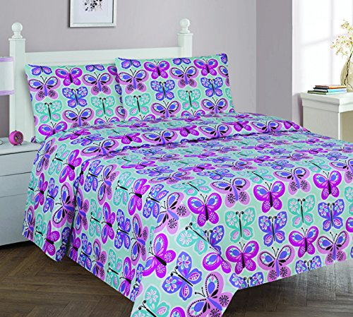 Flat Sheet Full Bedding - Elegant Home Butterflies Pink Blue White Purple 4 Piece Printed Full Size Sheet Set with Pillowcases Flat Fitted Sheet for Girls / Kids/ Teens # Butterfly Blue