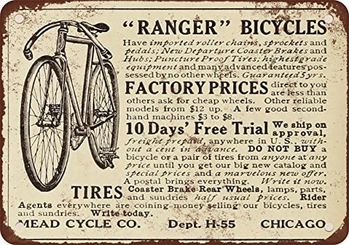1910 Mead Ranger Bicycles Vintage Look Reproduction Metal Tin Sign 12X18 Inches ()