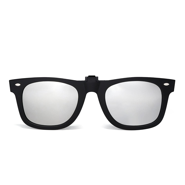 7f6eadddfb Amazon.com  Polarized Clip on Sunglasses Flip up Mirrored Eyeglasses Men  Women (Matte Black Mirror Silver)  Clothing