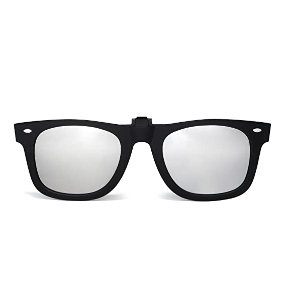 0b8cb872cad Polarized Clip on Square Sunglasses Flip up Mirrored Eyeglasses Men Wome  (Matte Black Mirror Silver)  Amazon.co.uk  Clothing