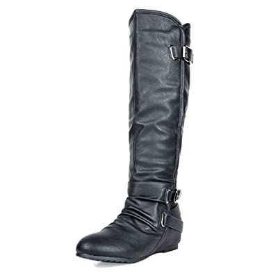 DREAM PAIRS Women's Knee High Low Hidden Wedge Riding Boots | Knee-High