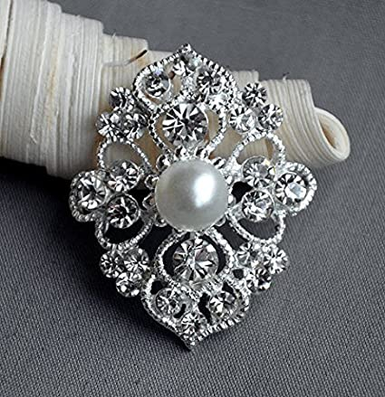 5c2d3f843 Image Unavailable. Image not available for. Color: 5 Large Rhinestone  Button Embellishment Pearl Crystal Wedding Brooch Bouquet Invitation Cake  Decoration ...