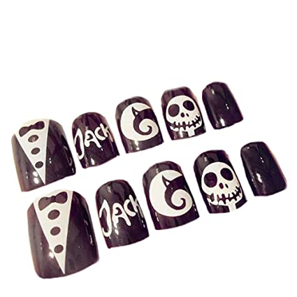 huuation Nail Art Decoración Halloween falsa uñas consejos Full ...