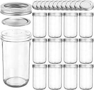 KAMOTA Wide Mouth Mason Jars 22 OZ With Wide Lids and Bands, Ideal for Jam, Honey, Wedding Favors, Shower Favors, Baby Foods, DIY Magnetic Spice Jars, 12 PACK, 12 Silver Pipette Covers Included