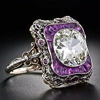 KassarinShop 925 Silver Amethyst & White Topaz Women Jewelry Wedding Engagement Ring Sz 5-10 (7)