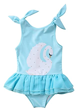 e18d2026685f8 Amazon.com: Urkutoba Kids Toddler Baby Girls' One Piece Swan Print Swimsuit  Rainbow Ruffle Bathing Suit Beachwear Tutu Dress Swimwear: Clothing