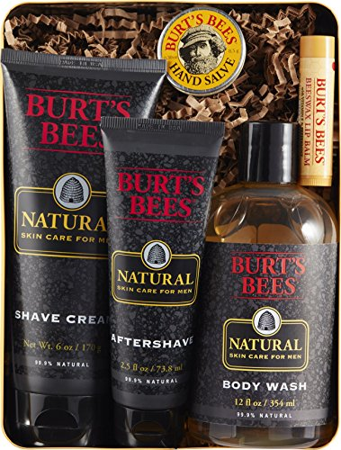 Gift Set After Shave Gel (Burt's Bees Men's Gift Set, 5 Natural Products in Giftable Tin – Shave Cream, Aftershave, Body Wash, Hand Salve, Original Beeswax Lip Balm)