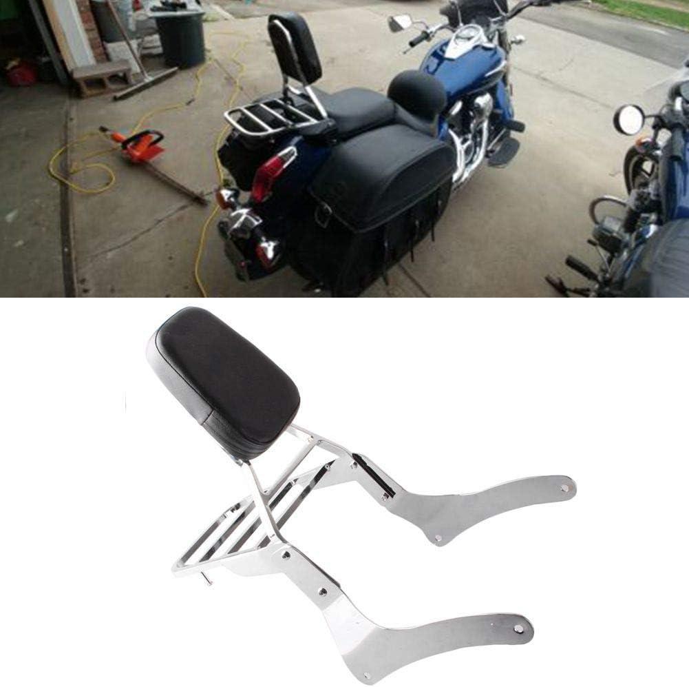 Black Comfortable Leather Backrest Sissy Bar Luggage Rack Pad for Kawasaki Vulcan 900 VN900 1996-2018