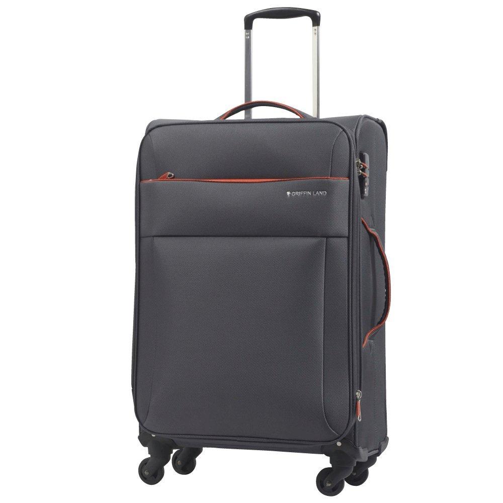 [グリフィンランド]_Griffinland TSAロック搭載 スーツケース ソフトタイプ  超軽量 AIR6327(solite) ファスナー開閉式 S型国内国際線機内持込可 5色3サイズ B0756WD992 M(中)型|グレー/オレンジ グレー/オレンジ M(中)型