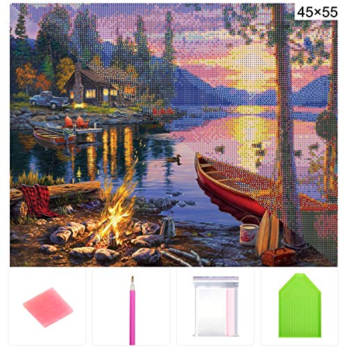 DIY 5D Diamond Painting Kit, ONE Phoenix Full Round Drill Forest Lake Sunset & Duck Large Kits, Clearance Rhinestone Diamond Art for Wall Decor, Contain Tools (50x40CM/55x45CM)