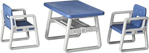 Qaba 3-Piece Kids Table and Chair Set Writing Desk