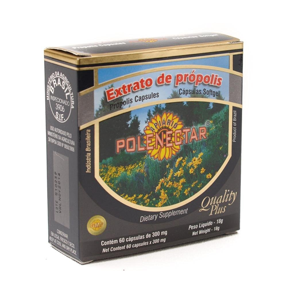 16 Pack of Polenectar Brazil Green Bee Propolis 60 Softgels 300mg - New Packaging Starting From 2015 by Polenectar