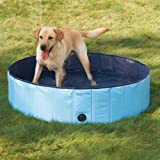 Pettom Foldable Large Dog Cat Aerated Gas-filled PVC Swimming Pool Bathing Tub Bathtub Blue Large