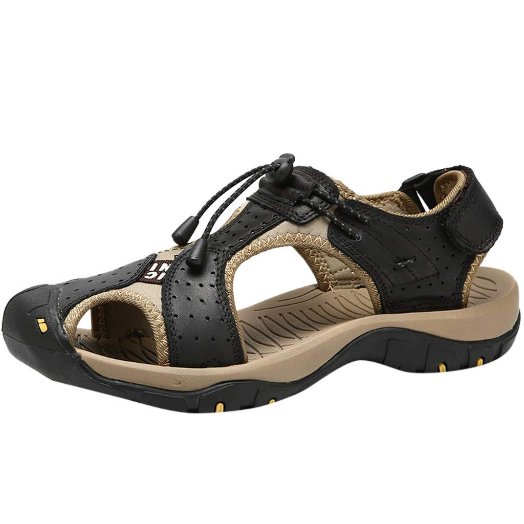 Men Sandals Casual Summer Closed Toe Outdoor Climbing Fisherman Beach Shoes (US:8.5, Black)