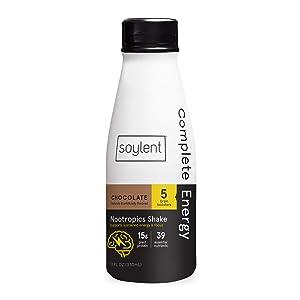 Soylent Complete Energy Gluten-Free Vegan Protein Nootropics Shake, Chocolate, 11 Oz, 12 Pack
