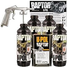 U-POL Raptor Black Urethane Spray-On Truck Bed Liner Kit w/ FREE Spray Gun, 4 Liters by U-Pol