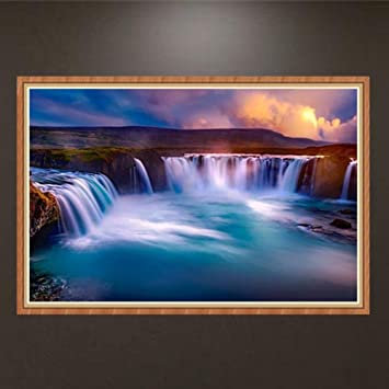 122af7ddb6 Full Drill Waterfall - 5D Diamond Painting By Number Kits Rhinestone  Embroidery Cross Stitch DIY Craft