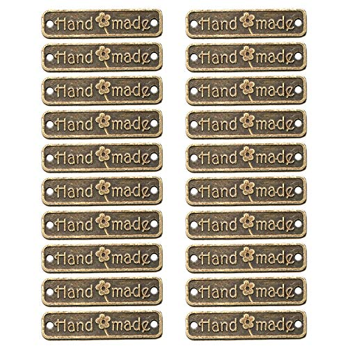 JETEHO 100Pcs Antique Bronze Metal Handmade Tag Signs, Fashionable Jewelry Making Charms Findings, 25x6mm