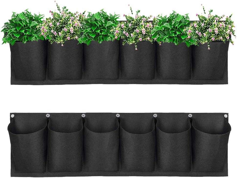 Dsaren 6 Bolsillo Bolsas Plantas Colgantes Horizontal Bolsas de Plantacion Pared Plantas Flores Plantador Jardineria para Yardas, Balcón, Terraza, Apartamentos Decoración