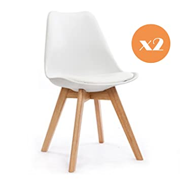 High Quality Mmilo® Tulip Dining Chair/Office Chair With Solid Legs Padded Designer  Replica X 2