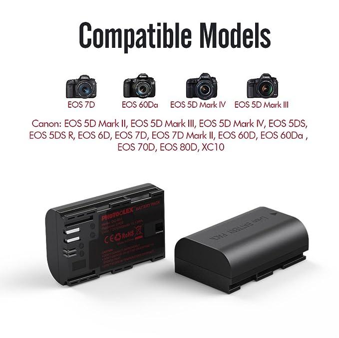 PHOTOOLEX Bateria Digital de la Camara Cargador de Doble Canal para Canon LPE6 con 2 Paquetes 2100mAh Bateria Recargable Opcion Carga Multiple Coinciden ...