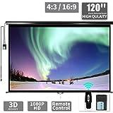 """120"""" Motorized Projector Screen - Indoor and Outdoor Movies Screen 120 inch Electric 4:3 Projector Screen W/Remote…"""