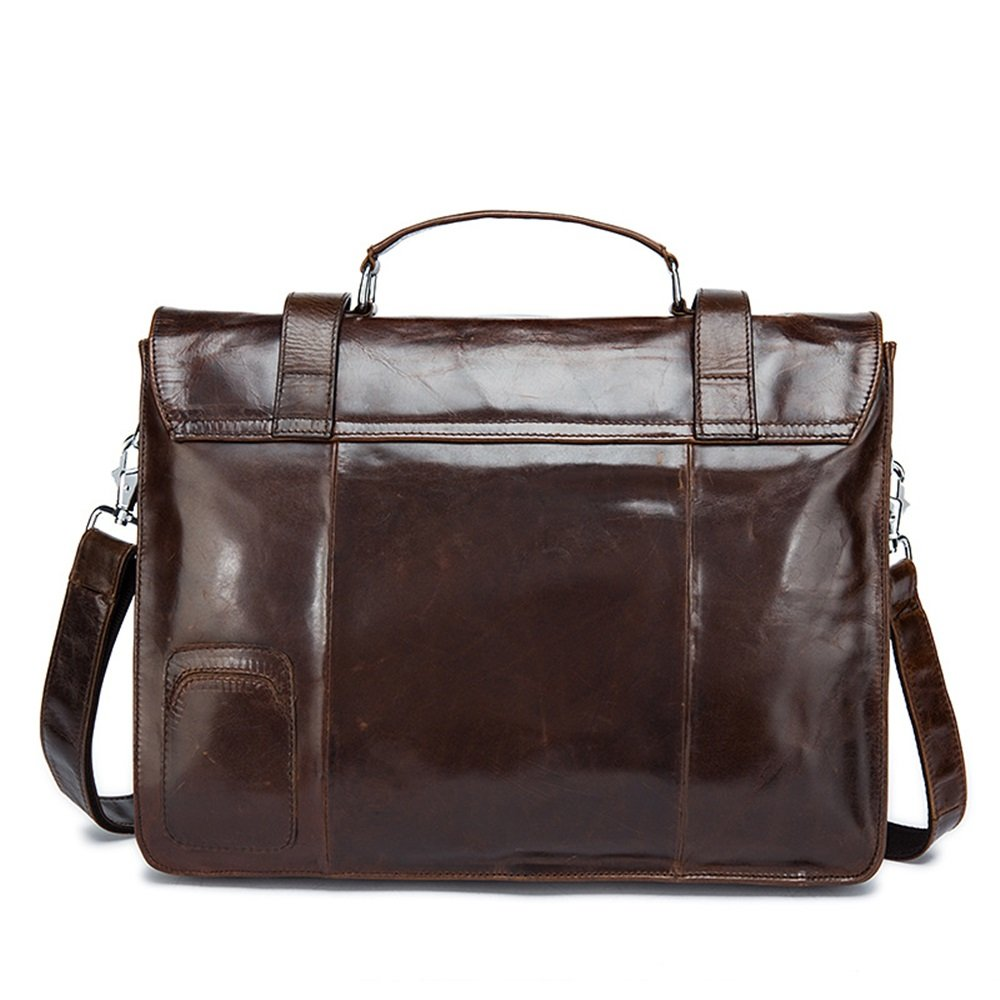 AJZGF Business Briefcase Mens Leather Business Briefcase Mens Crossbody Casual Tote Color : Brown