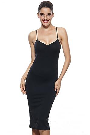 Khaya Womens Seamless Long Slip Dress Spaghetti Strap Full Slip At
