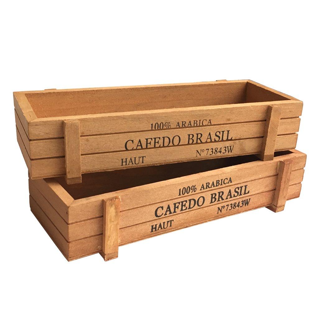 Amazon Com Vtete 2 Pcs 8 7 Wood Succulent Planter Plant Container