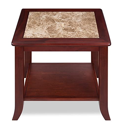 Olee Sleep Crema Cappuccino Natural Marble Top Solid Wood Edge Coffee Table Tea Table End Table Side Table Office Table Computer Table Vanity Table Dining Table, Brown Brown