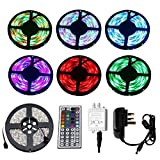 5M LED Strip Lights Kit, Vlio 16.4ft 3528SMD RGB LED Waterproof Flexible Light Rope Colour Changing, Come with UK Power Supply and 44 Key Remote Controller, Party Holiday Home Decora
