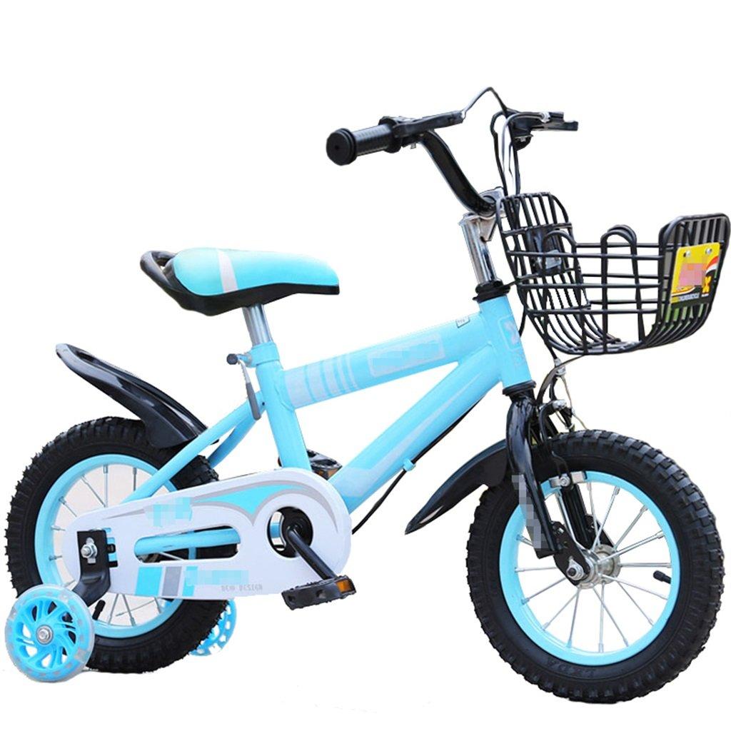 KANGR-子ども用自転車 子供の自転車マウンテンバイクに適した2-3-6-8ボーイズとガールズ子供用おもちゃのハンドルバー/サドルの高さはフラッシュトレーニングホイールで調節可能-12 / 14/16/18インチ ( 色 : 青 , サイズ さいず : 12インチ ) B07BTMJQJ4 12インチ|青 青 12インチ