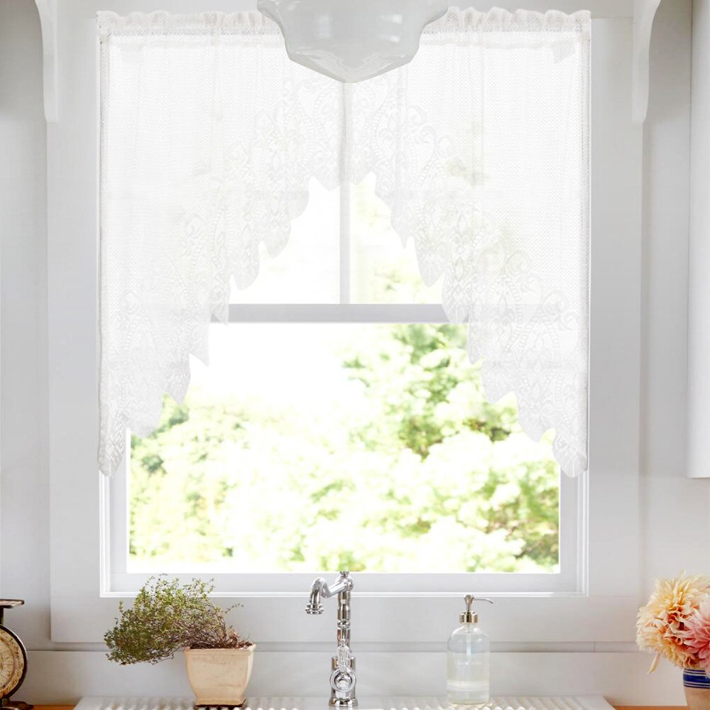 Lace Sheer Window Ascot Valances Knitted Lace Kitchen Curtain Valance (Pack of Two, W72xL28, White) CKNY HOME FASHION JCUSRP2-ASTVLC-8024V01
