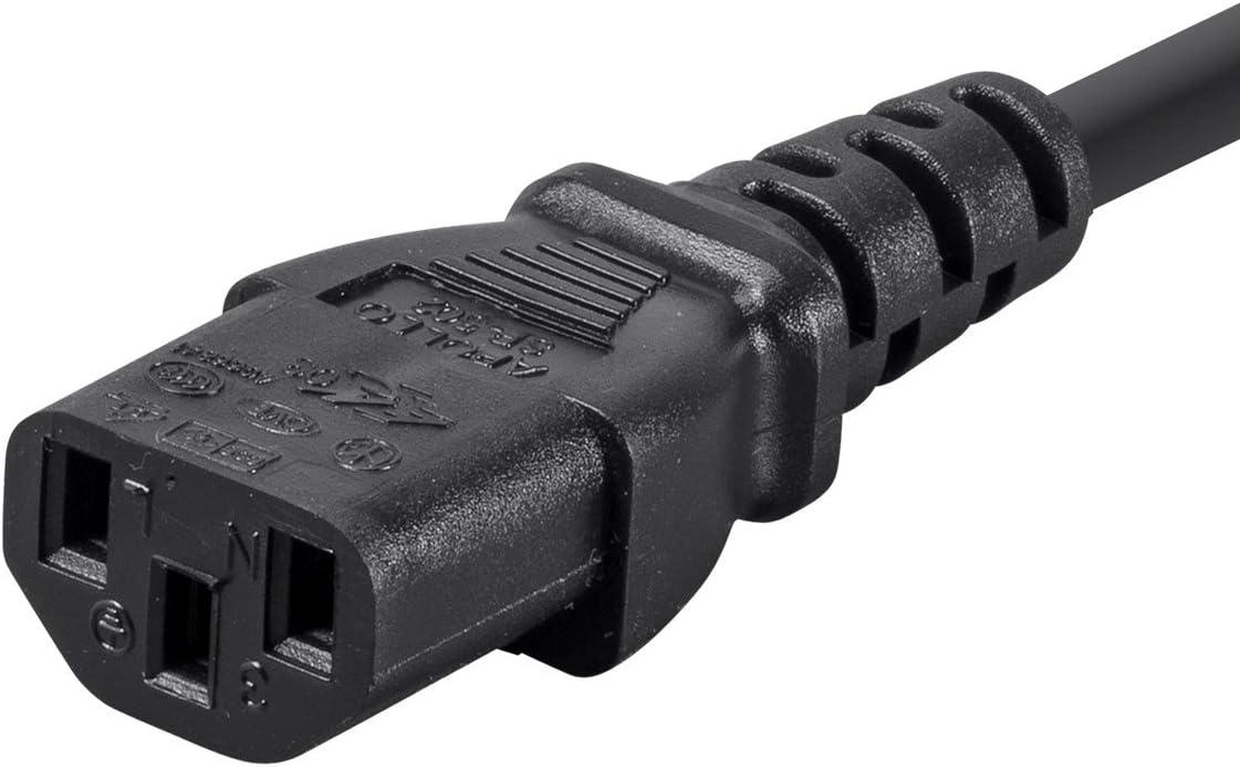 Black Sjt 14AWG NEMA 5-15P to IEC 60320 C13 Monoprice Desktop Computer Power Cord 12 Feet 15A 125V